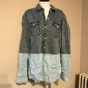 Converse Two Tone Button Down Denim Shirt