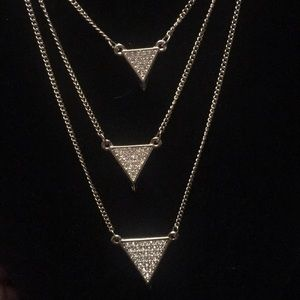 43 off Express Jewelry Rose Gold Layered Necklace With Crystals