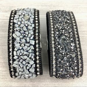 Jewelry - Magnetic Gray Stone Encrusted Cuff Bracelet