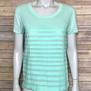 {j. crew} light aqua colored woven-striped t-shirt