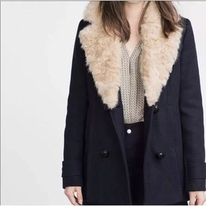 Zara Pea Coat with Removable Fur Collar Small