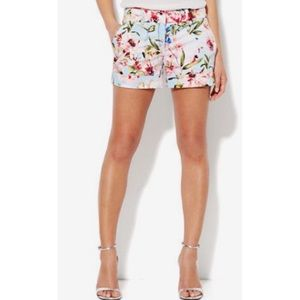 New York & Co 7th Ave Blue & Pink Floral Shorts