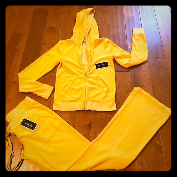 Juicy Couture Other Yellow Velour Hoodie And Pocket Pant Poshmark