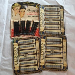 Vintage old bobby pins on cards 40/50s hairpins