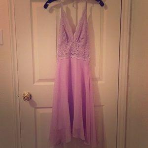 BEBE lilac lace halter dress