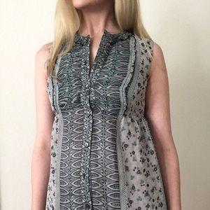 Anna Sui for Anthropologie Blue Silk Dress