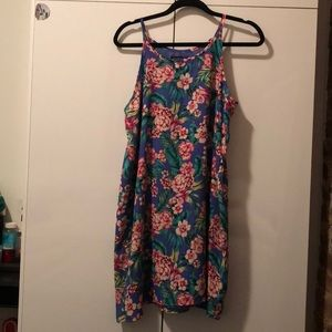 Colorful flower print mini tank dress!