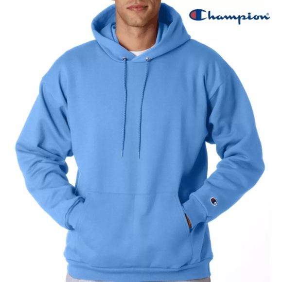 light blue champion hoodie