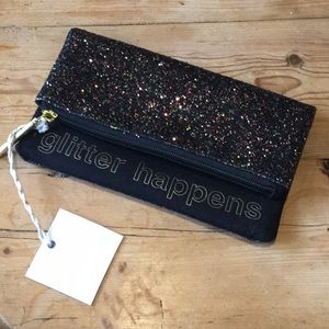 Tartan & Twine Black Glitter Happens Cosmetic Bag