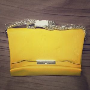 Justfab deep yellow/gold leather crossbody bag