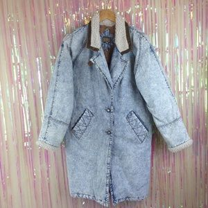Vtg 80s denim blue jean coat jacket acid wash long