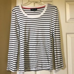 🎯Black and white striped long sleeve T-shirt