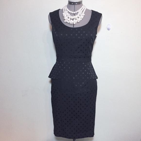 f04eb630c77ee WHBM Black Polka Dot Peplum Sheath Pencil Dress 2.  M_5a233d66291a35414a050064. Other Dresses you may like. White House Black  Market ...