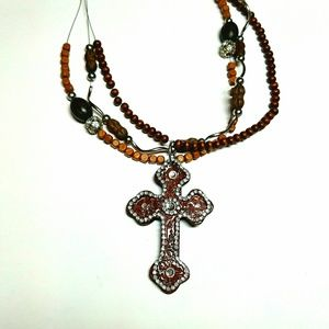 Jewelry - New Wood-look Multi-strand Crystal Cross Necklace