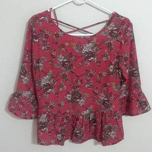 Brand new boho floral top with lace up back
