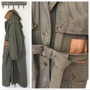 Vintage Together!   Army Green Trench Coat   L