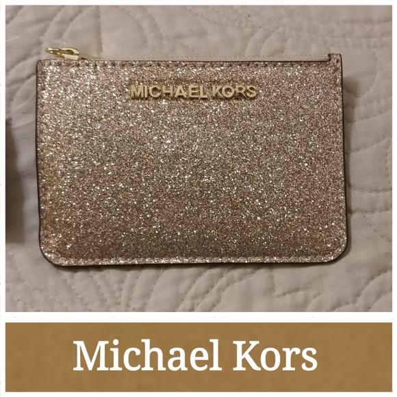 e2213a8a47930 NWT Michael Kors Rose Gold Glitter Coin Pouch