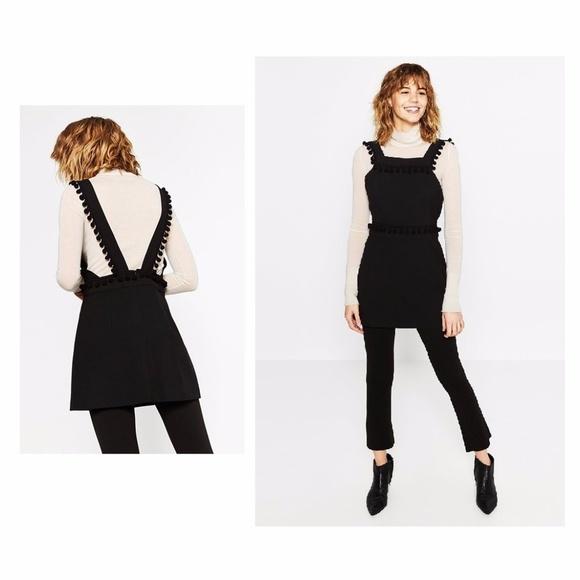 68b2f209 Zara Dresses | Pinafore Dress With Pom Poms Blogger Favorite | Poshmark