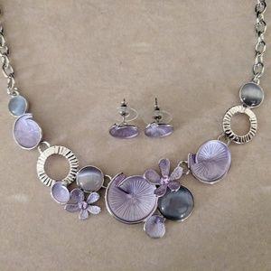 NWOT Metal & Purple Enamel Necklace & Earring Set