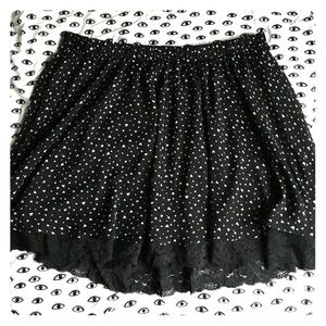 Mini heart print skater skirt with lace detail