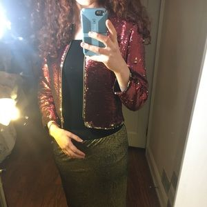 Ted baker red and gold zip sequin jacket NWOT