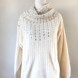Vintage 90s Ivory Cowlneck Embellished sweater