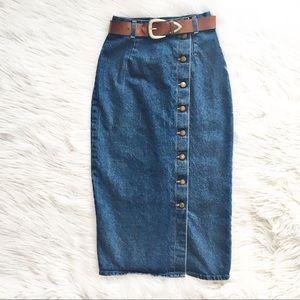 Vintage 80's high waist denim maxi skirt