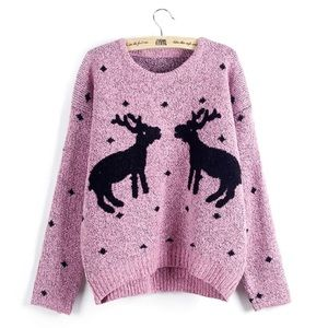 Cotton Reindeer Holiday Sweater