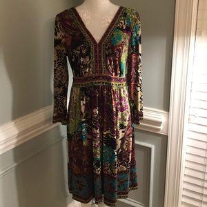eci New York Paisley Purple Print Dress Tie Back