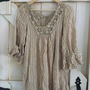 Mono Reno m brown crochet sheath dress