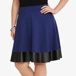 NWT! Torrid blue & black faux leather skater skirt
