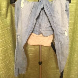 Light Blue Maternity Jeans w/ Cuts in Knees