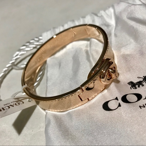 Coach Jewelry Rose Gold Turnlock Bangle Poshmark