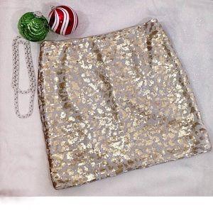 Banana Republic Gold /Ivory Sequin Skirt-Size 10