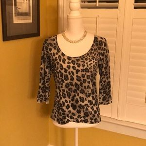 August Silk animal print top with sequins. Size L