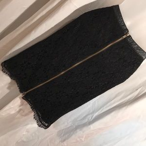 THML M black lace zip skirt