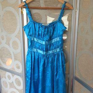 CHLOE shiny blue dress with braided straps