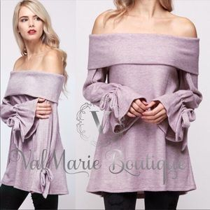 Softest lavender lilac off shoulder top