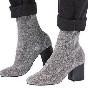 Topshop Martha Glitter Sock Booties size 37