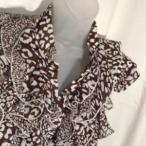 [Mandee] M ruffle top - brown / white
