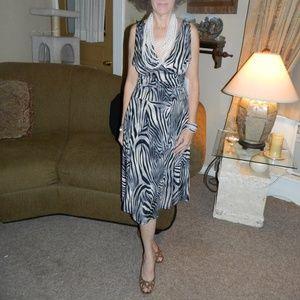 Ariella Sundress Zebra Halter Midi Black white NEW