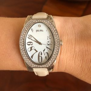 Folli Follie Silver Crystal Stones Leather Watch