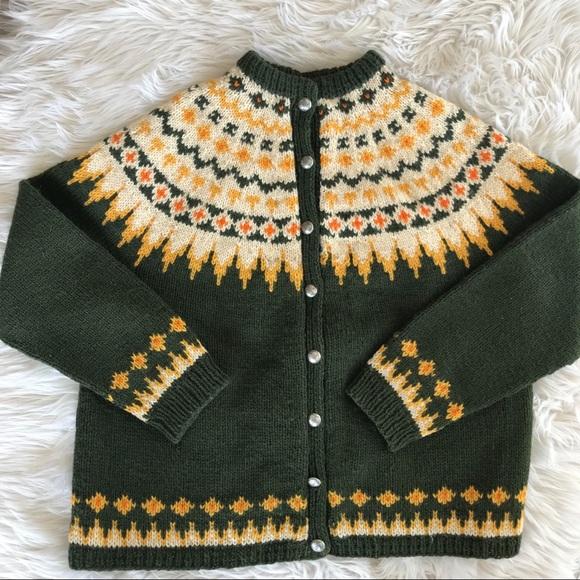 Vintage Norwegian Wool Fair Isle Cardigan
