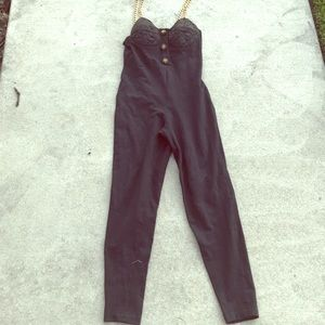 80s Vintage body suit with gold chain strap