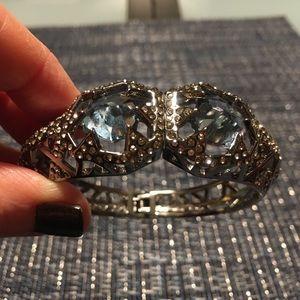 Alexis Bittar Gun Metal Blue Crystal Bracelet
