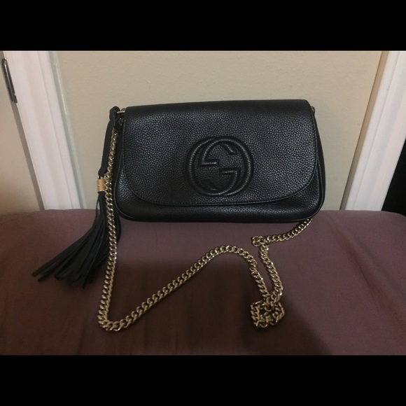 Gucci Handbags - Gucci Soho Black Leather Crossbody bag with tassel