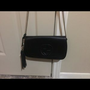Gucci Bags - Gucci Soho Black Leather Crossbody bag with tassel