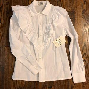 NWT XS Olivia Culpo for Le Tote white ruffle shirt