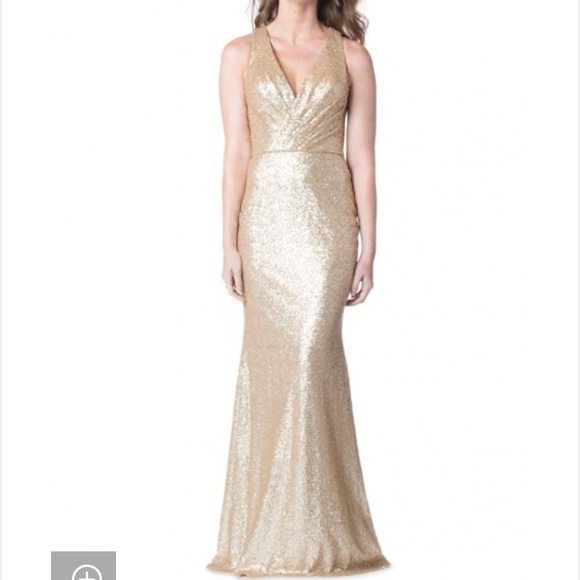 f9afd4f9010e4 Bari Jay Dresses & Skirts - Bari Jay gold sequin bridesmaid dress