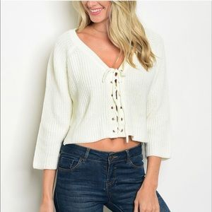 Sweaters - Cropped Lace Up Cream Sweater